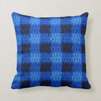 Shades of Blue Gingham Plaid Crochet Print on Throw Pillow