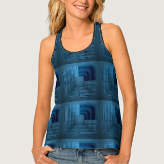 Shades of Blue Gradient Squares Retro Pattern Tank Top