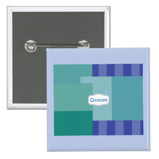 Shades of Blue in squares&rectangles 2 Inch Square Button