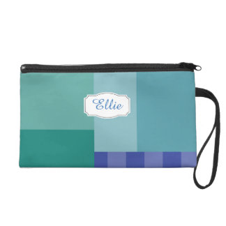 Shades of Blue in squares&rectangles Wristlet
