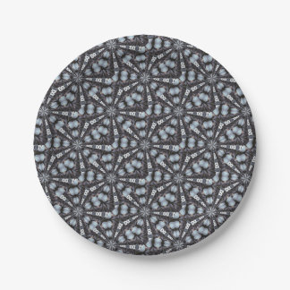 Shades of Blue Kaleidoscope Paper Plate