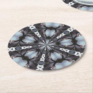 Shades of Blue Kaleidoscope Round Paper Coaster