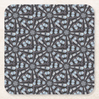 Shades of Blue Kaleidoscope Square Paper Coaster