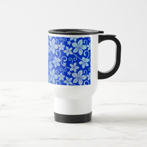 Shades of Blue Plumeria Blooms Mugs