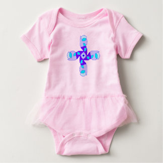 shades of blue ruffled pink onesy baby bodysuit