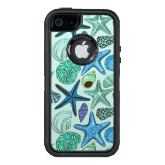 Shades Of Blue Seashells And Starfish Pattern OtterBox iPhone 5/5s/SE Case