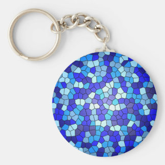Shades Of Blue Stained Glass by Shirley Taylor Keychain