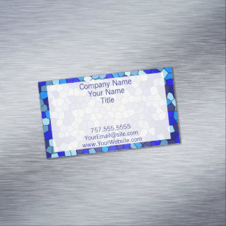 Shades Of Blue Stained Glass by Shirley Taylor Magnetic Business Card