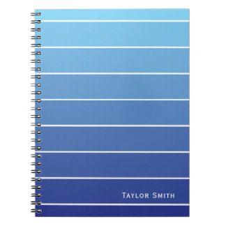 Shades of Blue Stripes Paint Chip Spiral Notebook