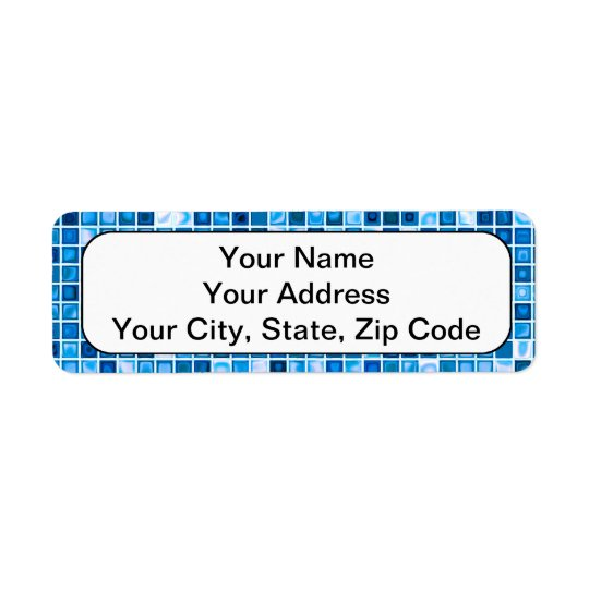 Shades Of Blue 'Watery' Mosaic Tiles Pattern Return Address Label