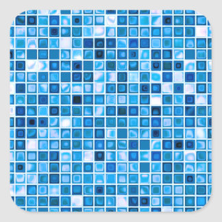 Shades Of Blue 'Watery' Mosaic Tiles Pattern Square Sticker