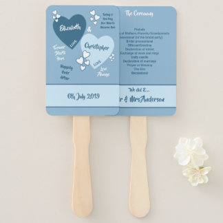 Shades of Blue Wedding love hearts Hand Fan