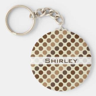 Shades of Brown Polka Dots by Shirley Taylor Keychain