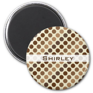 Shades of Brown Polka Dots by Shirley Taylor Magnet