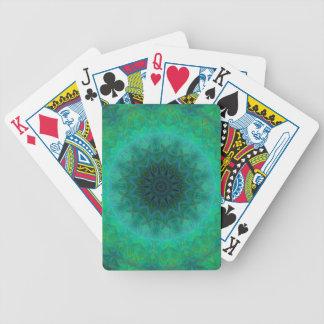 Shades of Emerald Green Mandala Pattern Bicycle Playing Cards