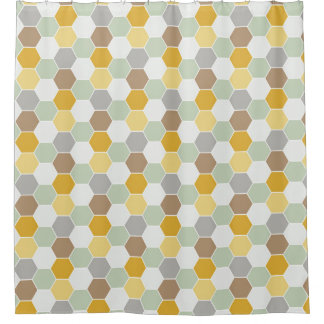 Shades of Gold, White, Gray Honeycomb Pattern