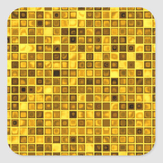 Shades Of Goldenrod 'Watery' Mosaic Tiles Pattern Square Sticker