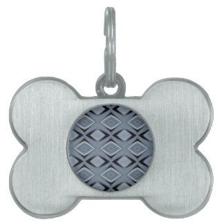Shades of Gray Modern Geometric Pattern Pet Tag