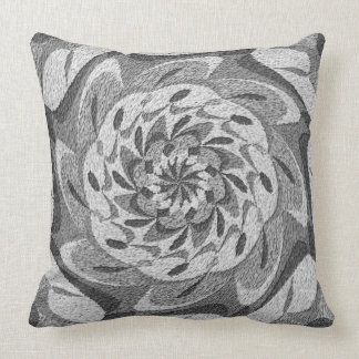 Shades of Gray Stone Mandala Throw Pillow