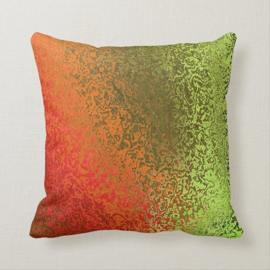 Shades of Green and Orange Pattern Pillow