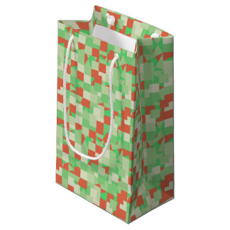Shades of Green and Orange Squared Camouflage Small Gift Bag