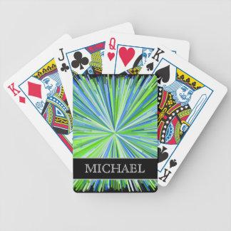 Shades of Green/Blue Line Burst Pattern + Name Poker Deck