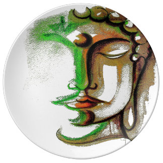 SHADES OF GREEN BUDDHA #2 Porcelain Plate 10.75""