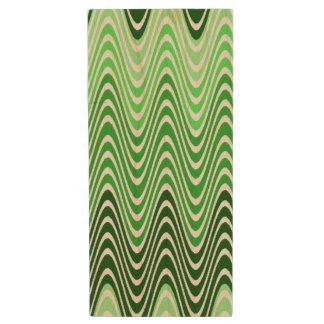 Shades of Green Chevron Style Design Wood USB Flash Drive