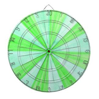 Shades of Green Geometric Spokes Pattern DartBoard