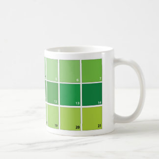Shades of Green Grid Classic White Coffee Mug