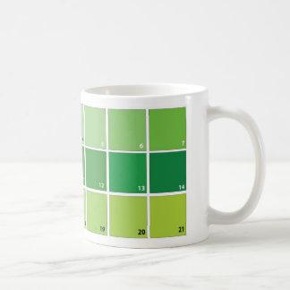 Shades of Green Grid Classic White Coffee Mug