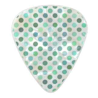 Shades of Green Polka dot patterns Pearl Celluloid Guitar Pick
