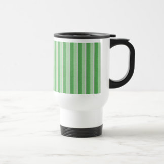 Shades of Green Vertical Stripes Stainless Steel Travel Mug
