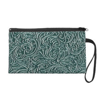 Shades of Green Vintage Tin Tile Look Wristlet Clutch
