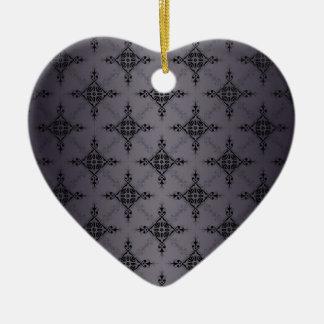 Shades of Grey Damask Pattern Christmas Ornaments