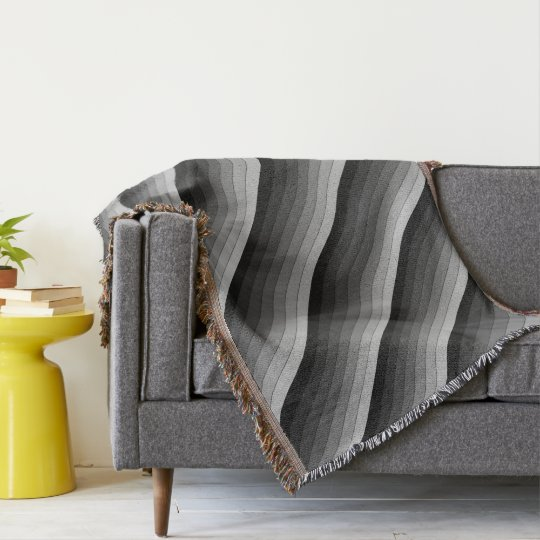 Shades of Grey Stripes Pattern Elegant Throw Blanket