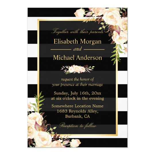 Shades of Ivory Floral Stripes Winter Wedding Card