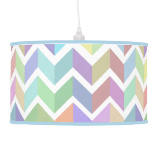 Shades of Multicolor Pastel Horiz Chevron Stripes Hanging Lamp