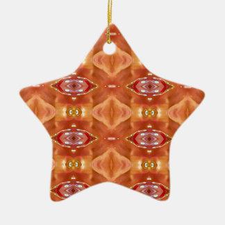 Shades Of Orange Peach  Modern Festive Design Ceramic Ornament