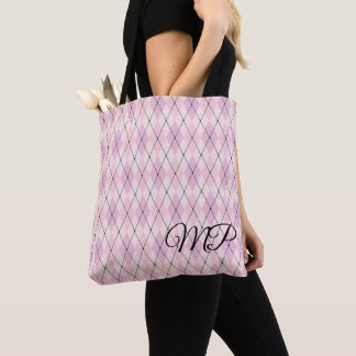 Shades Of Pink Argyle Pattern Tote Bag