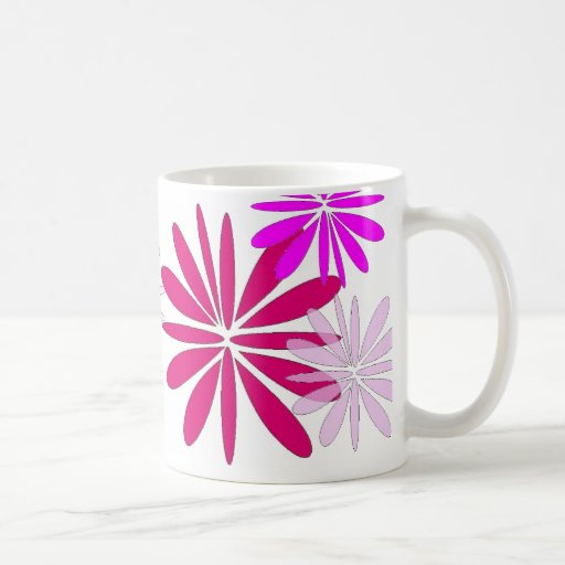 shades of pink flower design mug