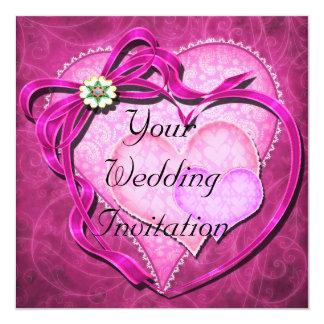 Shades of Pink Hearts Wedding Invitation