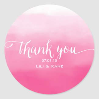 Shades of Pink Ombre Thank You Sticker