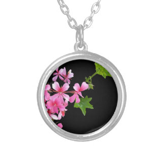 shades of pink on black round pendant necklace
