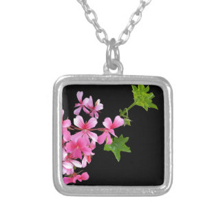shades of pink on black square pendant necklace