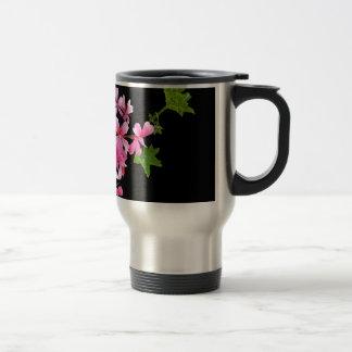 shades of pink on black travel mug