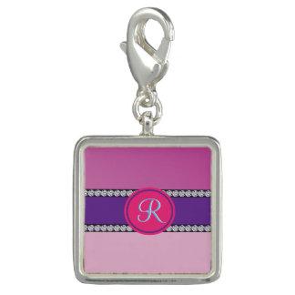 Shades of Pink Purple Mauve Monogram Initial Charm