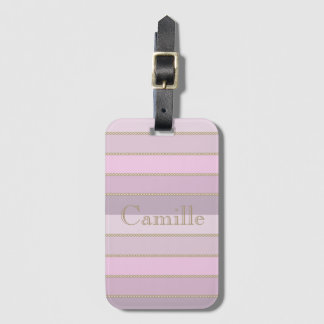 Shades of pink stripes personalized name luggage tag