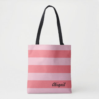 Shades of Pink Stripes Tote Bag