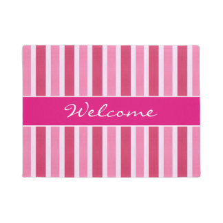 Shades of Pink Stripes Welcome Doormat